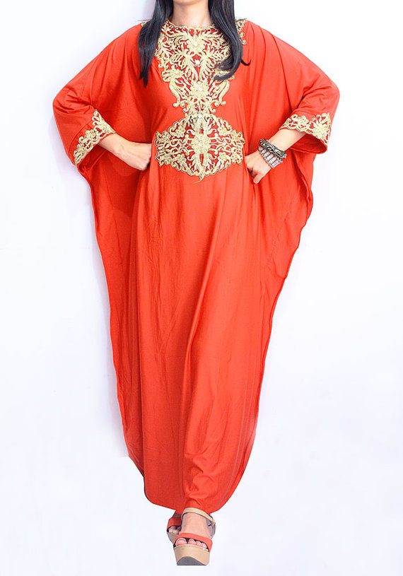 7fbff153276 Moroccan Elegant Ruby RED Caftan Gold Embroidery Sequin Dubai Abaya Maxi  Dress Jalabiya