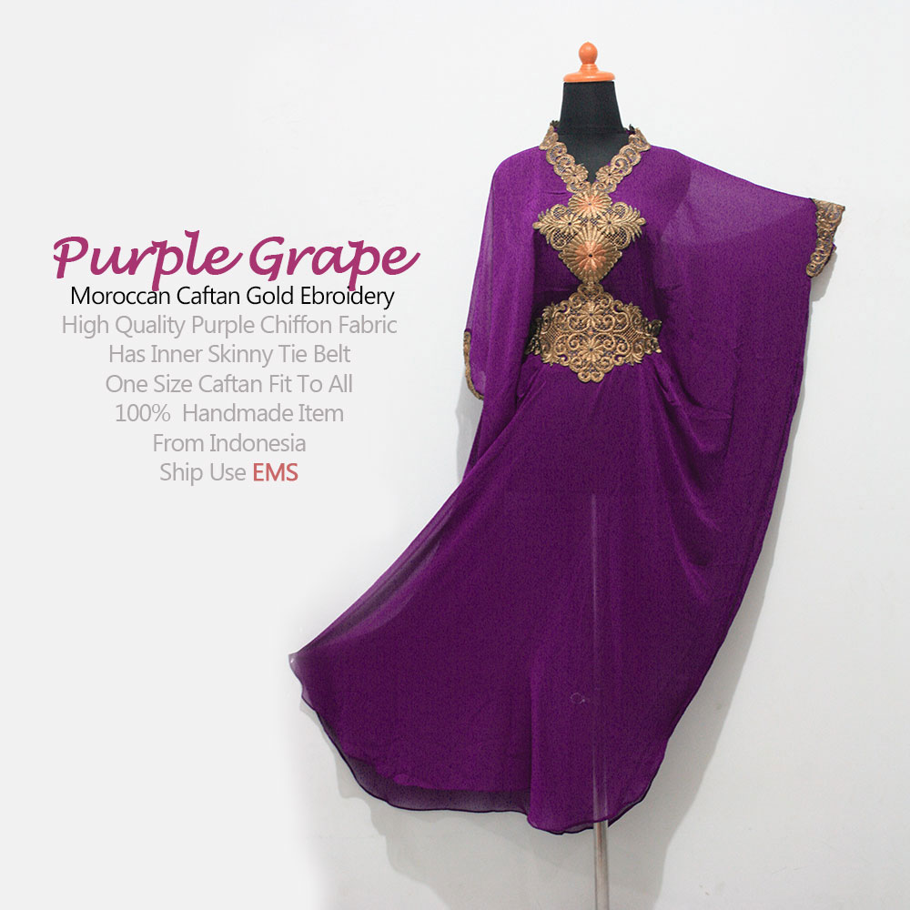 Moroccan Purple Caftan Gold Embroidery Dubai Abaya Maxi Dress ...