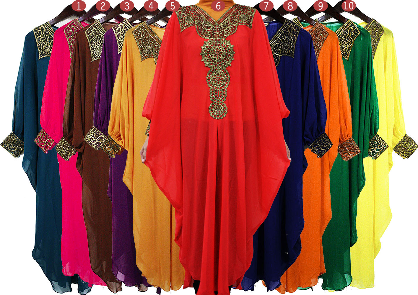 GORGEOUS Colorfull Chiffon Caftan Moroccan Gold Embroidery ...